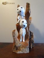 Kodama Tree Spirits from Princess Mononoke by alesthewoodcarver