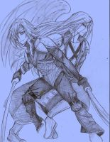 kadaj-sephiroth-quicksketch by lutzia