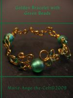Golden bracelet' green beads by Marie-Ange-the-Celt