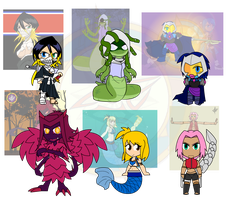 Assorted Chibis - Take Two Designs by Dragon-FangX