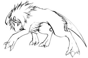 Absol line art by candid-silence