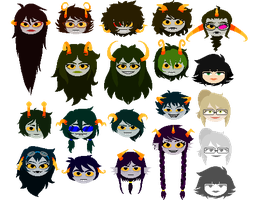 Fantroll (and fankid) headsprites by Magdaleen-96