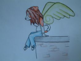 Angel on the Ledge by Silverfang-Chaos
