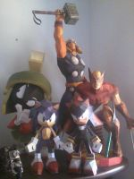 Marv, Thor, Sonic, Wolverine e Shadow by Monochrome-Factor1