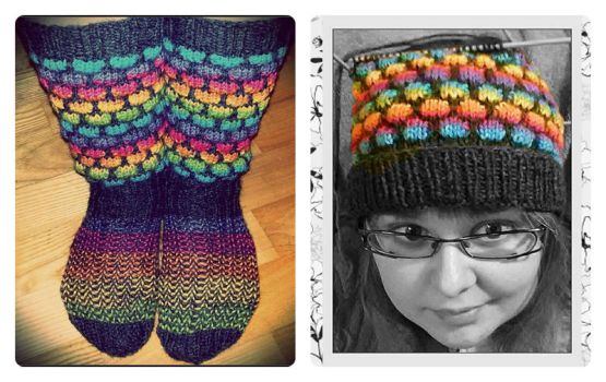 Rainbow socks and slouchy beanie by Coccis