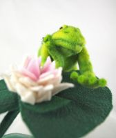 Jointed Needle Felt Frog with Lily Pad by AlwaysSuagarCoated