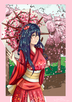 Spring (with background) by AmyDrawArt