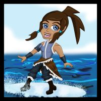 Korra riding the waves by vick330