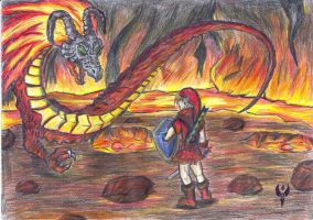 Link vs. Volvagia by Arenthor