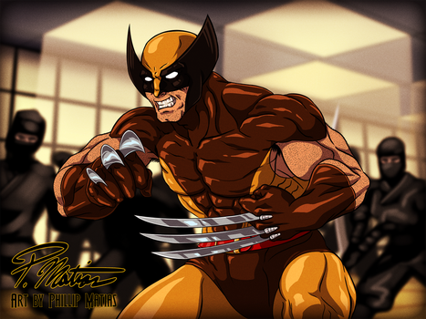 Wolverine - Dressed in Brown, Fighting Ninjas by BW-Straybullet
