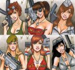 Bombshells sketch cards by eltoromuerto