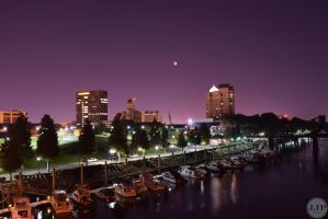 Blood moon from 5th street by Joseph-W-Johns