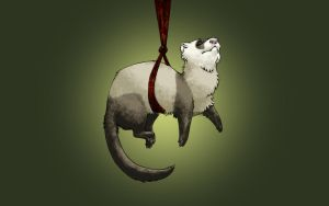 Hanging Ferret Wallpaper by Nivailis