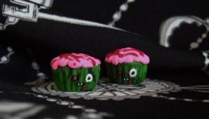 Zombie Cupcake Earring Charms by alternativeicandy