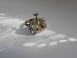 Steampunk mechanical ring with zircons by SteamJo