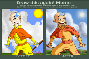 Draw this again meme: Avatar Aang by CartoonSilverFox