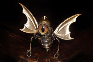 Steampunk Minion Robot with wings and mustache by CatherinetteRings