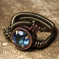 Steampunk Swissblue Topaz ring by CatherinetteRings