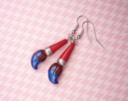 Paintbrush Earrings Commission by Kuppiecake