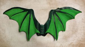 Green Leather Dragon Wings by Dr-K
