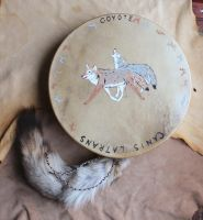 Coyote Painted drum with Tails by lupagreenwolf