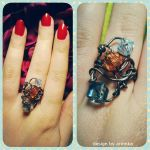 Copper Wire Ring with Crystals by Arinnka