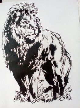 Lion black and white by Sinned1990PD