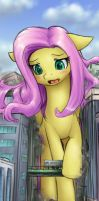 Fluttershy fails to fit by AlloyRabbit