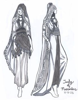 Lady of November Fashion Sketches by AngelaSasser