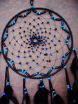 Large Black and Blue Dream Catcher by xsaraphanelia
