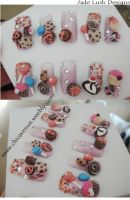 Tiny, cute chocolate 3d nails by jadelushdesigns