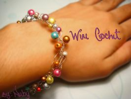 Wire Crochet thin bracelet by colourful-blossom