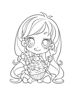 Chibi Cupcake - colouring page by FrogMakesArt