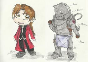 Chibi Alphonse-(Human and Armor) by FairyKats