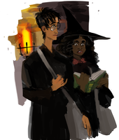 Harry and Hermione between classes by crowry