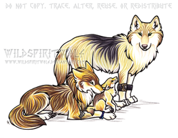 Three Wolf Family Commission by WildSpiritWolf