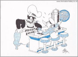 Donald Duck and Pete Concept Drawing by AnimationValley
