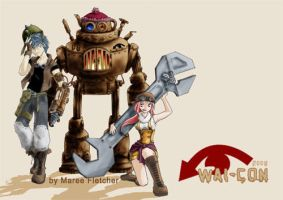 Steampunk mascots: coloured by zzzzing