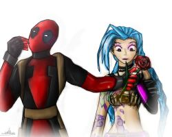 Deadpool and Jinx by NiGHTSgirl666