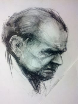 old man (charcoal) by grinningrabbit