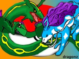 Suicune and Rayquaza by DragonzFire95