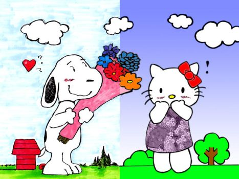 Snoopy and Hello Kitty by RoninoftheRiver