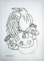 CROW tattoo design OUTLINE by oldSkullLovebyMW