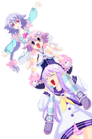 Neptune, Nepgear, Pururut Commission 1 Coloring by Planeptune