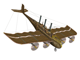 Steampunk Flying Machine 02 PNG Stock by Jumpfer-Stock