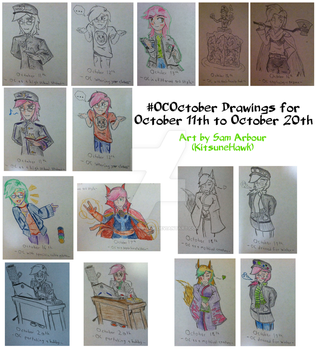 #OCOctober 2016 Collage: Days 11 to 20 by KitsuneHawk
