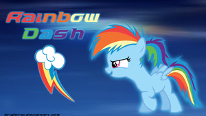 Rainbow Dash Filly Ponytail Wallpaper by brightrai
