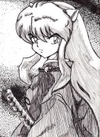 InuYasha Ink Sketch by DogDemonAbridged12
