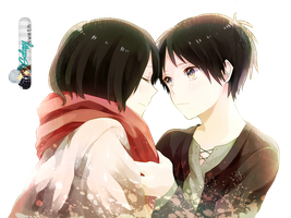 Eren and Mikasa RENDER HD by a-Galaxysweth
