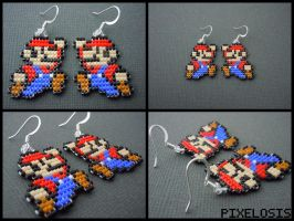 Handmade Seed Bead Mario Earrings by Pixelosis